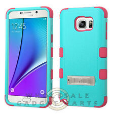 Samsung Galaxy Note 5 TUFF Hybrid Case w/Stand - Natural Teal/Electric Pink Skin
