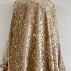 """BEIGE / LIGHT GOLD CRUSHED VELVET VELOUR FABRIC DRAPING STRETCH DRESS MAKING 60"""""""