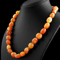 RARE 507.10 CTS NATURAL UNTREATED RICH ORANGE ONYX BEADS SINGLE STRAND NECKLACE