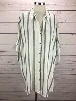 Cato Women's Plus Tie Sleeve Stripe Top Size 22/24 Button Down NWT
