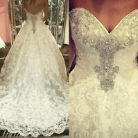 White/Ivory Sweetheart Crystals Lace Wedding Dress Bridal Gown Custom All Size