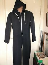 BNWOT LADIES NAVY & WHITE FLEECE ONE PIECE ALL IN ONE HOOD JUMPSUIT L / XL RMB