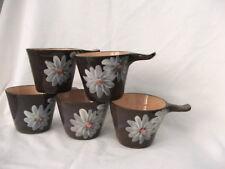 Vintage Collectable June Dyson Australian Pottery Flannel Flower Ramekins x 5