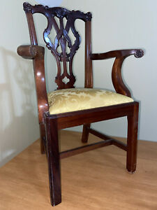 Antique Vintage Chippendale Style Mahogany Accent Child's Chair Doll Chair