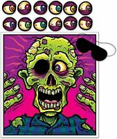 HALLOWEEN PIN THE EYEBALL ON THE ZOMBIE PARTY GAME POSTER WALL DECORATION FOR 12