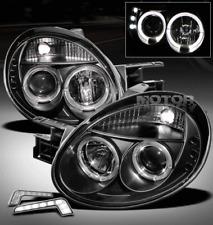 03-05 DODGE NEON HALO LED BLACK PROJECTOR HEAD LIGHT W/DRL KIT SIGNAL LEFT+RIGHT