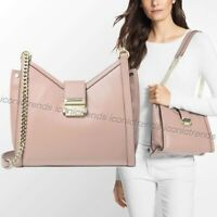NWT 🌸 Michael Kors Whitney Small Chain Shoulder Leather Tote Soft Pink Gold
