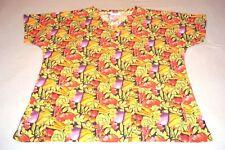 Vegetables Fruits Pumpkin Tomato Carrot Pepper Scrubs Shirt Top Nurse RN Women L