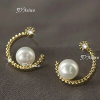 18K GOLD GF MADE WITH SWAROVSKI CRYSTAL LADIES WOMEN PEARL EARRINGS