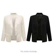 Polyester Patternless Casual Blazers for Women