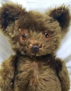 """1930's Knickerbocker Teddy Bear 18"""" Metal nose green mohair only made for 2 yrs"""