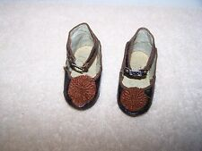 Antique CM  Shoes for French Doll Jumeau Bru Made in France Color Brown
