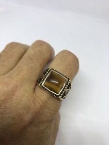 Vintage Golden Stainless Steel Genuine Tiger's Eye Free Mason Men's Ring