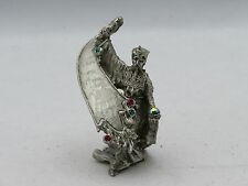 New Fantasy Mythical & Magic Comstock Pewter Jeweled Wizard with Crystal Ball