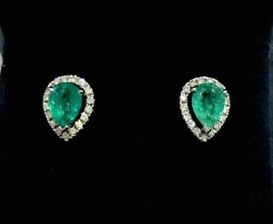 1.50ct Genuine Emerald & Real Diamond Halo Earrings -18ct Solid Gold  BNWT