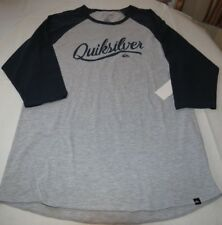 Men's Quiksilver Sea Scroll Raglan T Shirt surf skate 3/4 Sleeve XXL Premium Fit