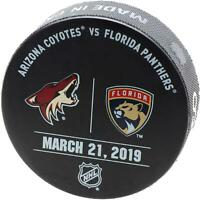 Florida Panthers Game-Issued Warm-Up Puck vs. Arizona Coyotes on March 21, 2019