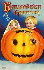 Fabric Block Halloween Vintage Postcard Image Pumpkin Boy Girl JOL
