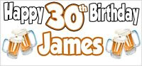 Beer 30th Birthday Banner x 2 Party Decorations Mens Husband Dad Grandad Son