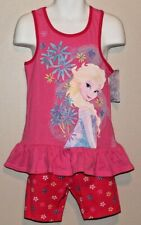 GIRLS 4T Disney Frozen Elsa 2-Piece Outfit - Pink Tank Top & Floral Shorts NWT