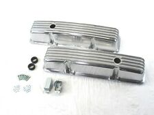 1958-86 SBC Chevy Tall Finned Aluminum Valve Covers w/ Hole Polished BPE-2005