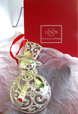 Lenox Sparkle and Scroll Clear Crystal Snowman Ornament Silverplate Red Ribbon