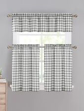Gray White Gingham Checkered Plaid Kitchen Curtain Set Duck River