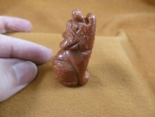 (Y-COY-SI-552) Goldstone COYOTE gemstone carving FIGURINE I love baby COYOTES