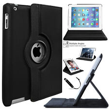 "Tempered Glass + Rotating Leather Case for Apple iPad 6th Generation 9.7"" 2018"