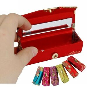 1x Retro Embroidered Flower Lip Rouge Lipstick Case Holder Gift Box with Mirror