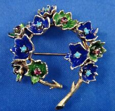 Vintage 14k Gold Enamel Designer Pin Brooch with Turquoise and Ruby by Martine