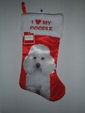 Poodle White Christmas Stocking  I Love My Poodle  Dog Holiday NEW  With TAGS