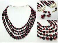 Vintage Japan Glass Multi Strand Bead Necklace Mid Century Metallic Pink Black