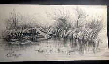 1883 Antique PENCIL DRAWING Signed A Nixon ART Charcoal NATURE River Bank France