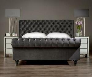 VELVET BED: Velvet Handmade Upholstered chesterfield Single/Double/Kingsize uk