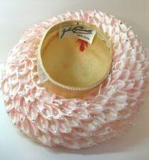 Vintage Jack McConnell Pink Jewel Straw Flower Petal Church Derby Hat