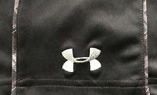 EUC Mens Black Under Armour W/Grey Plaid S/S Golf Athletic Polo Shirt L