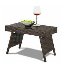 Rattan Patio Coffee Table Folding Outdoor Garden Furniture Conservatory Brown
