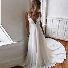 UK White ivory Chiffon Spaghetti Straps A Line Beach Wedding Dresses Size 6-18