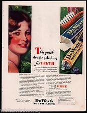 1929 DR. WEST'S Tooth Paste Dental Hygiene Fabulous Vintage Bath Decor AD
