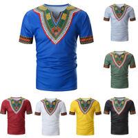 Men Summer Casual African Print V Neck Pullover Short Sleeve T-shirt Top Blouse