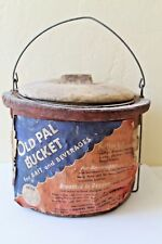 VINTAGE OLD PAL PAPER MACHE MINNOW BAIT BEVERAGE BUCKET ORIGINAL LABEL RARE