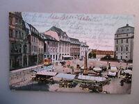 Ansichtskarte Darmstadt Strassenbahn  Marktplatz 1912