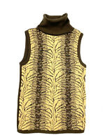Cache Womens Vintage 90s Animal Print Turtleneck Sleeveless Sweater Brown France