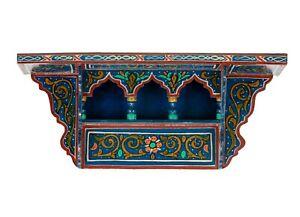 Vintage Hand painted, Wall Blue dark Shelf, Reproduction, Handmade, Wood