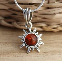 Cognac Baltic Amber 925 Sterling Silver Sun Pendant Jewellery Chain Necklace