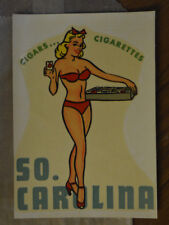 ORIGINAL VINTAGE TRAVEL DECAL SOUTH CAROLINA PINUP CIGARETTE GIRL GGA RISQUE OLD