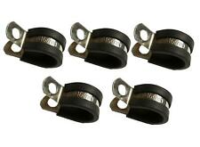 5x Marine Grade Stainless Steel Rubber-Lined P-Clip 16mm Hose Pipe Clamp M6 Hole