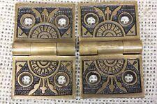 "2 old decorated Hinges door brass1 1/4 x 2"" 1880 vintage interior shutter"