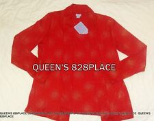 Nwt Laura Scott women's Stretch red gold long sleeve Twin Top Shirt S small New